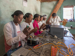Women in solar engineering training at India's barefoot college