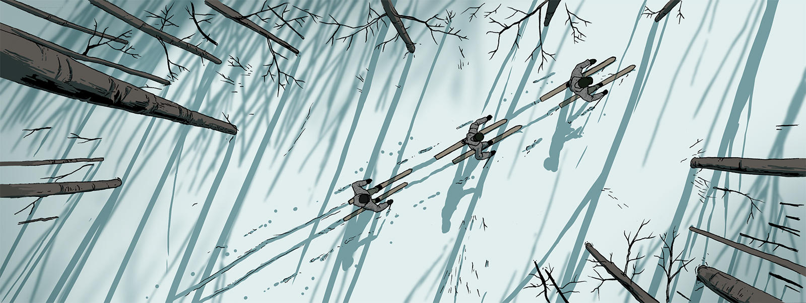 illustrated aerial view of three researchers cross country skiing through the snow