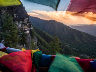 Bhutanese mountains in sunset