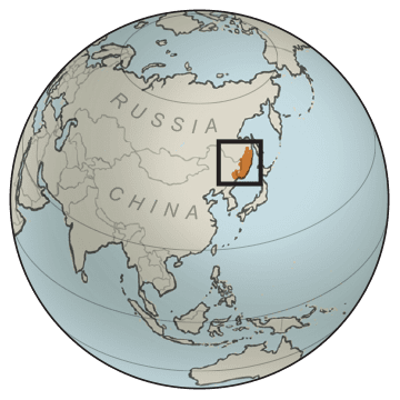 Globe illustration of Amur tiger habitat in far east Russia