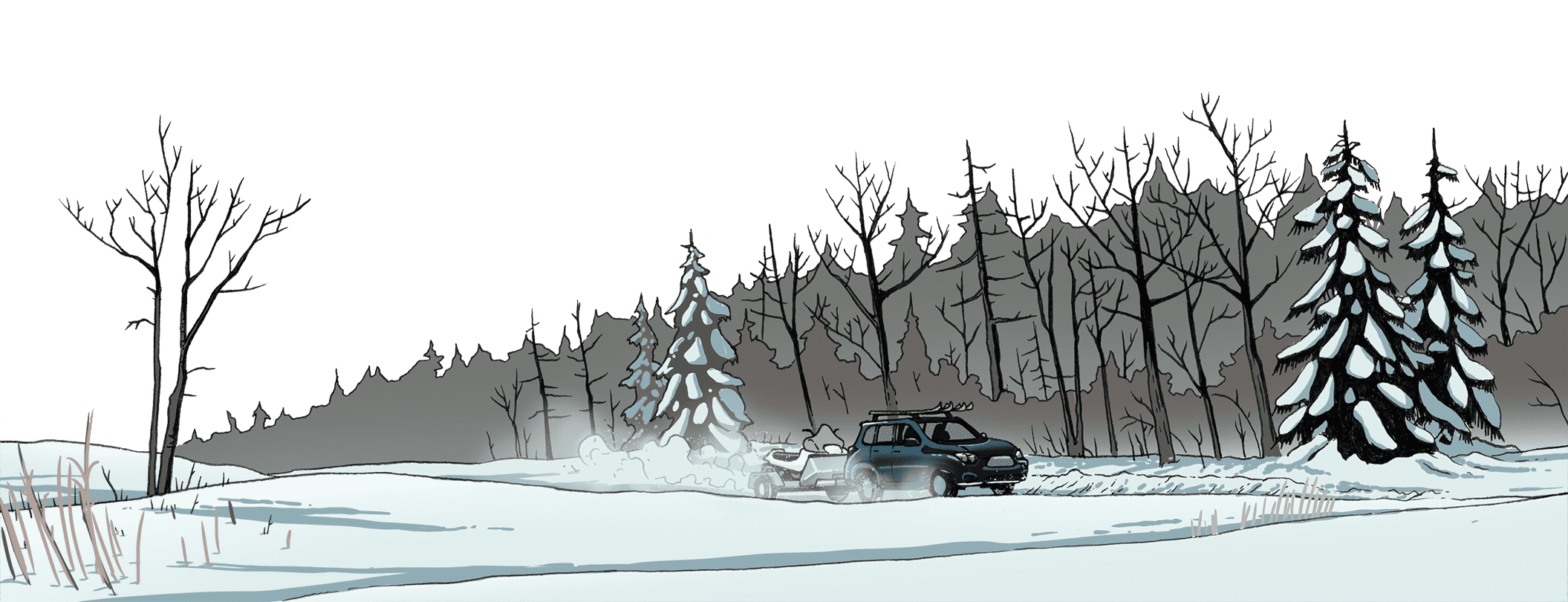 illustration of SUV driving in the snow pulling a snow mobile in tow