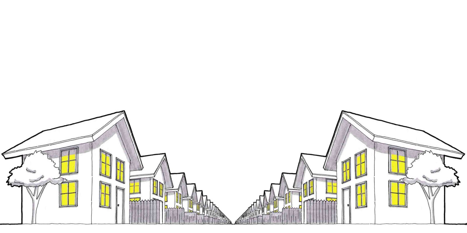 Drawing of houses on a street with lights on