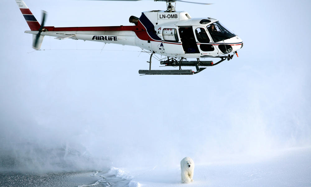 a helicopter flies over polar bear landscape