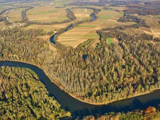 Aerial shot of the snaking Mura River undammed