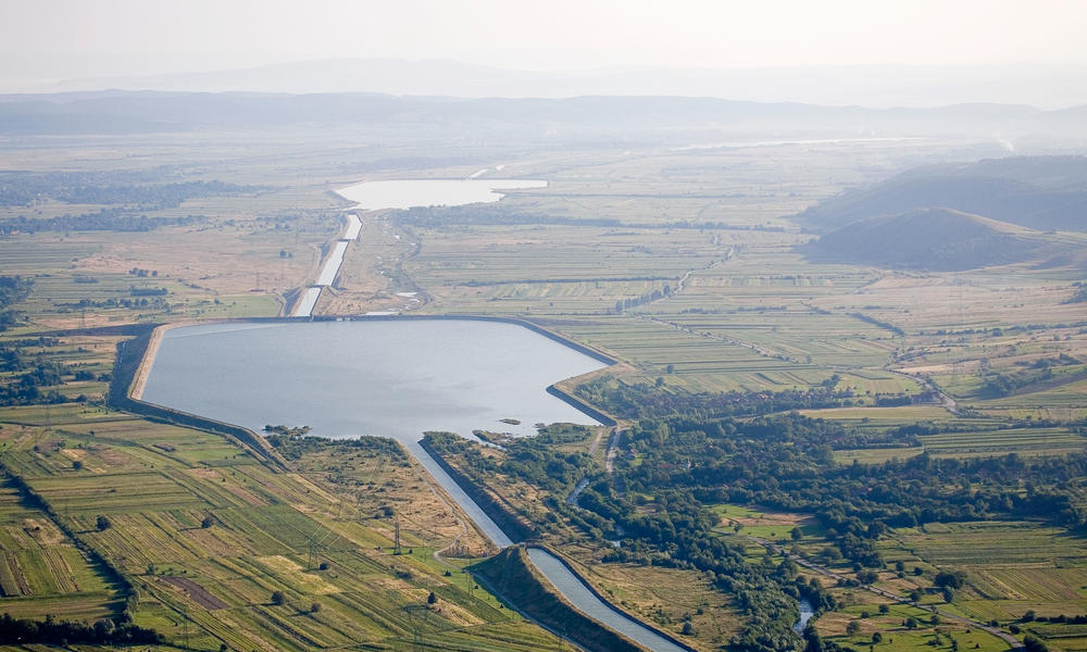 Agricultural dam, Tara Hategului agricultural valley, Transylvania, Romania