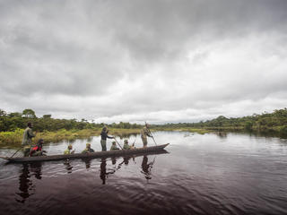 rangers paddle down a river in Salonga National Park