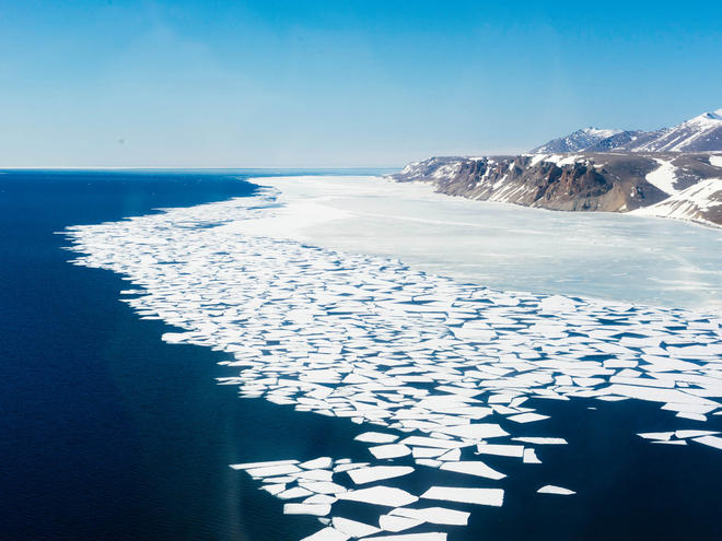 Arctic sea ice on the Bering Strait