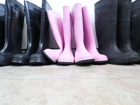 A pair of pink rubber boots at a processing plant