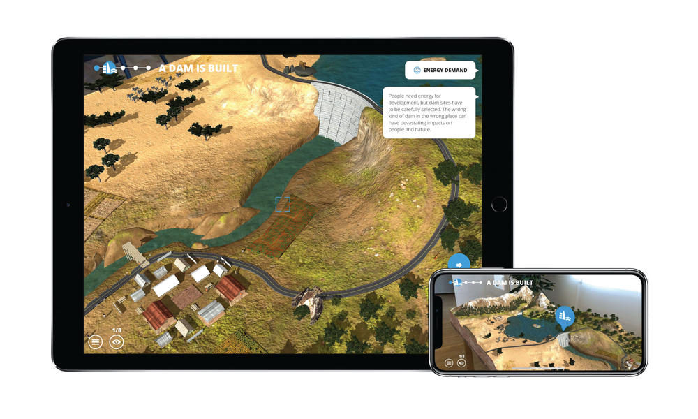 Screenshots from WWF Free Rivers app showing dams
