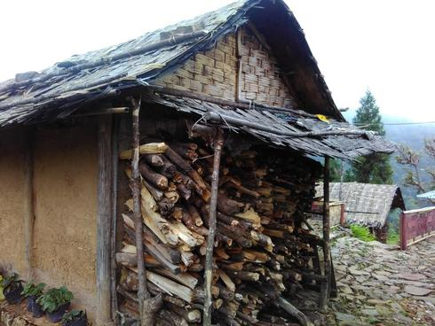 Shed to keep household fire wood dry in Sikkim