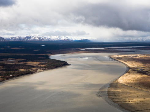 Nushagak River flows into Bristol Bay