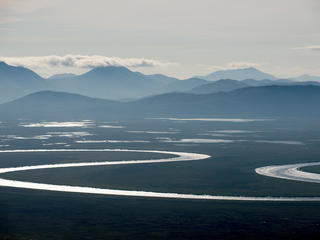 An aerial view of a landscape in the Bristol Bay watershed