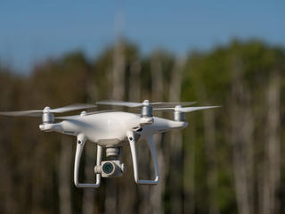 drone heads into forest