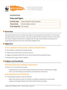 Wild Classroom Tiger Social Studies Activity Preview Page
