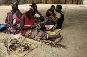 Local women making handicraft goods