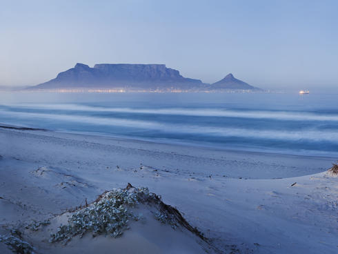 Table Mountain in South Africa shrouded in fog
