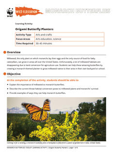 Wild Classroom Monarch Butterfly Arts Education Activity Preview Page