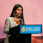 Nina Gualinga addresses GCAS audience