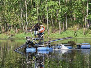 Water mower operating