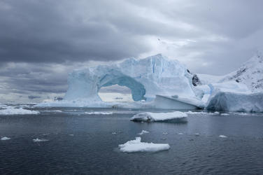 Glacier and icebergs in Antarctica