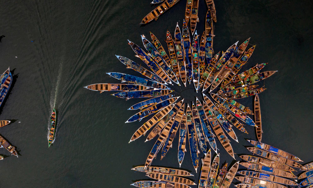 small fishing boats from above