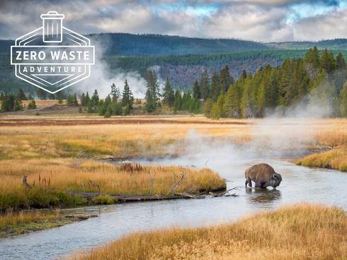 NatHab Zero Waste Adventure - Yellowstone landscape with bison grazing