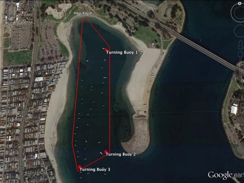 Google Map of 1 mile course map around Bonita Cove, San Diego