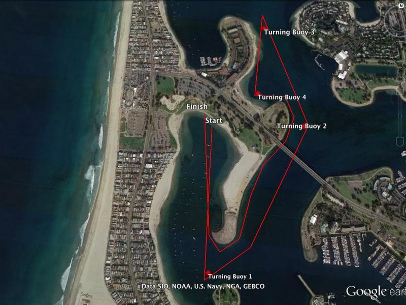 Google Map of 5K course map around Bonita Cove, San Diego