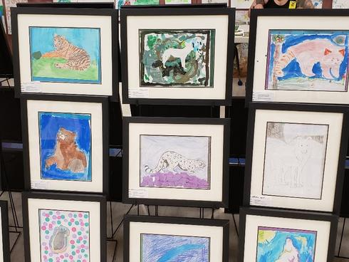 Student artwork from an Earth Day art show