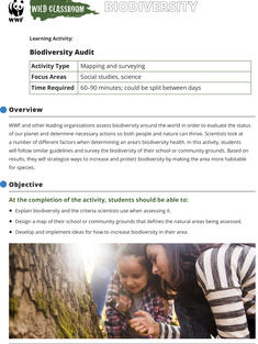 Wild Classroom Biodiversity Social Studies Activity Preview Page