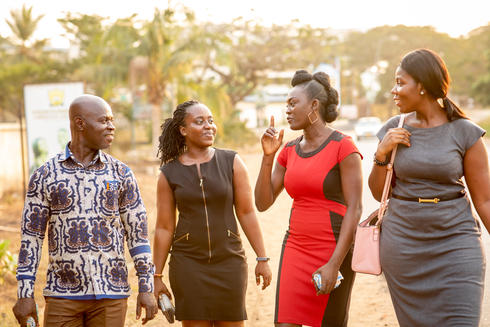 Yeboah, Akua, and observers Sandra Fynn and Tracy Addotey