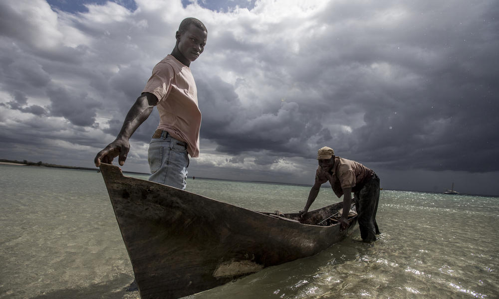 Fisherman in their boats, Ilha de Mafamede, Mozambique.