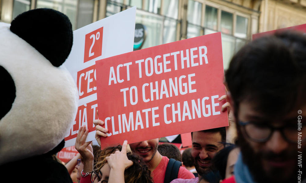 """Sign reading """"act together to change climate change"""" from the 2018 Paris Climate March"""