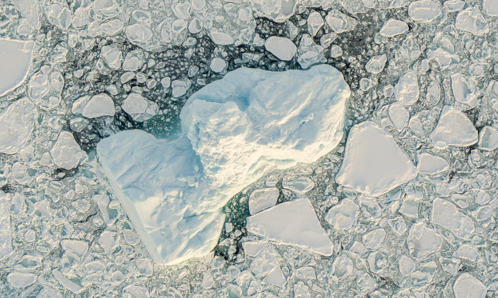 Aerial view of sea ice off the coast of Greenland