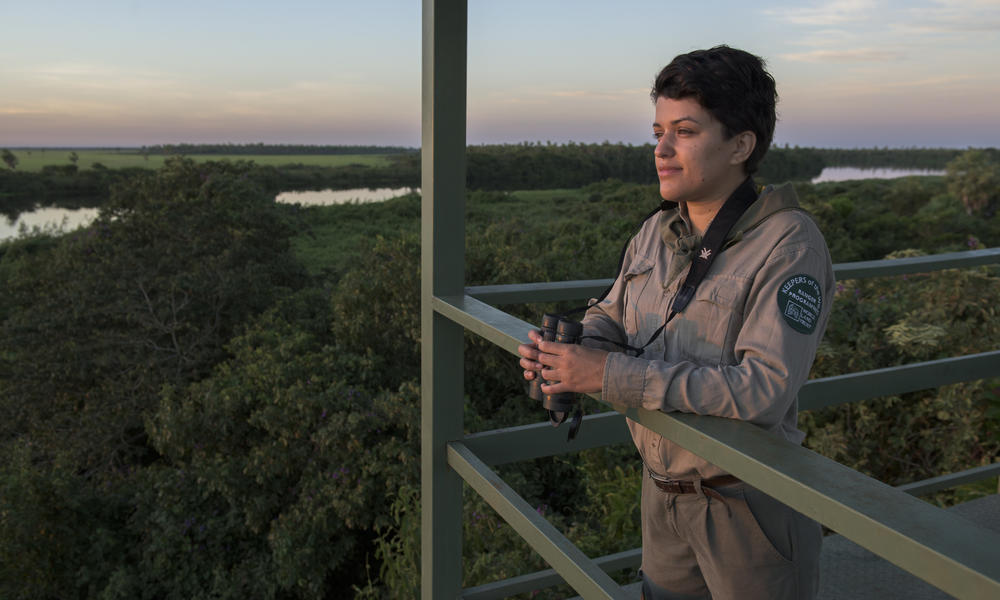 Carolina Alvarez, park ranger at Tres Gigantes Biological Station, a private nature reserve owned and managed by local conservation NGO Guyra Paraguay Alto Paraguay, Paraguay.
