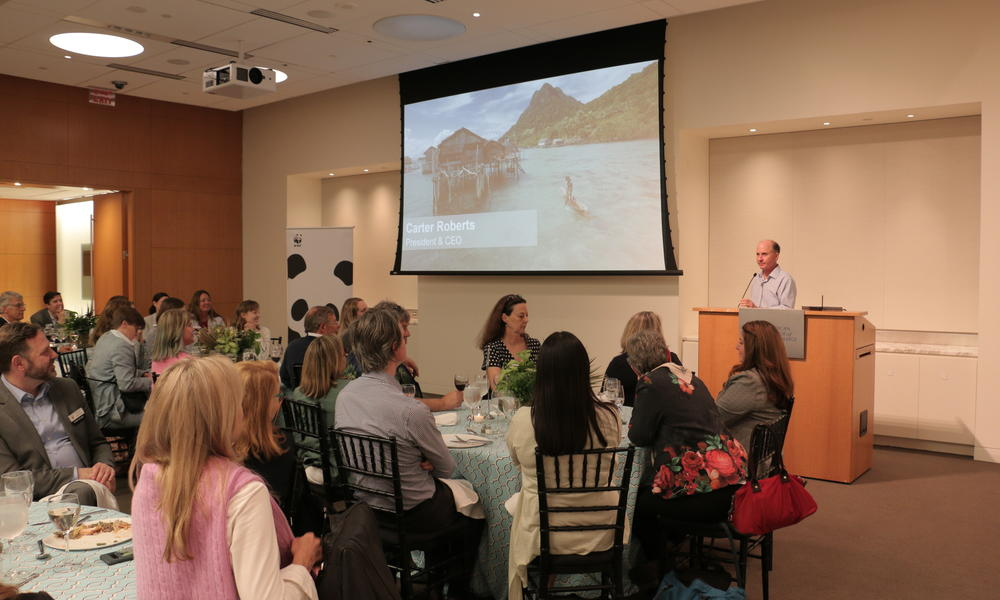 Attendees at the 2019 Partner Symposium enjoy lunch while hearing from President & CEO, Carter Roberts