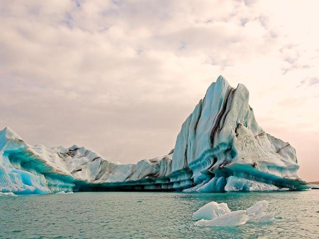 An ice lagoon is seen on a melting glacier in, Jokulsarlon, Iceland