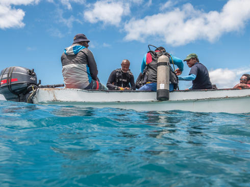 Fiji divers in boat