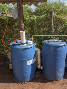Rain barrels to collect water for school garden