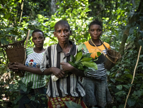 Memba Henriette, BaAka elder, member of Ndima-Kali, an association comprised of local BaAka people living around the Dzanga-Sangha Special Reserve, with youth that she trains: Prisca BOUGOE (L), GONGO (R). Central African Republic.