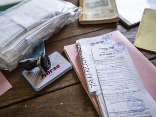 Birth certificates belonging to BaAka people defended by lawyers at the Human Rights Center in Bayanga, Central African Republic