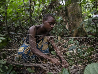 Guemou, part of a group of BaAka people living around the Dzanga-Sangha Special Reserve, prepares a hunting net