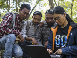 Sabita Malla (front), tiger expert at WWF Nepal, is working with citizen scientists (Santos Tharu, Khakendra Thapa and Chain Kumar) responsible for monitor tigers in the Khata Corridor.