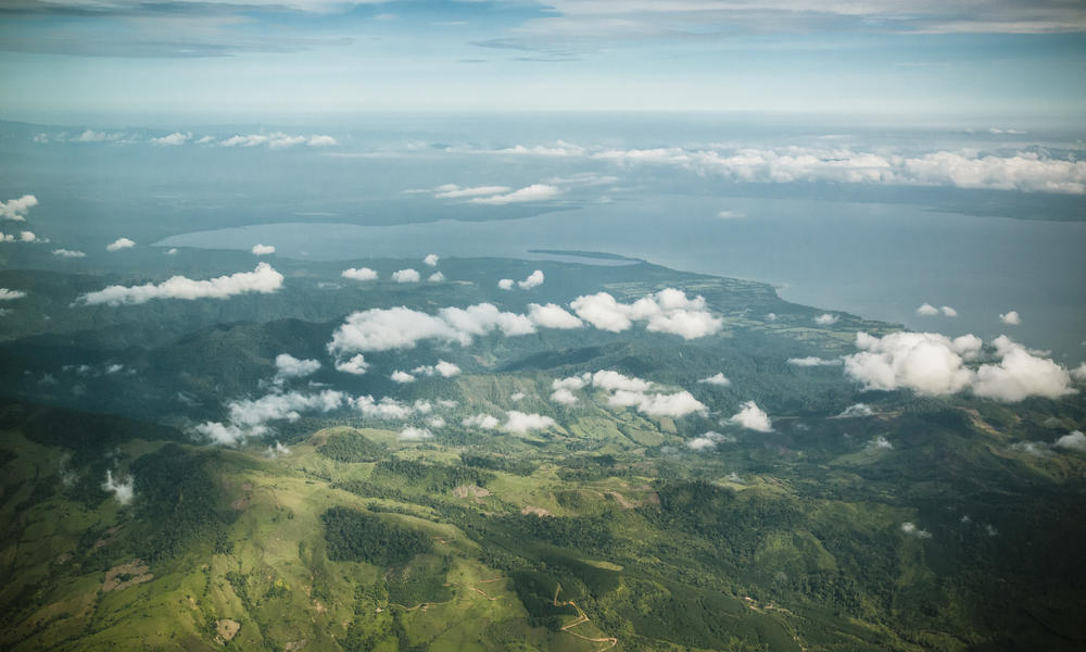 Aerial photograph of freshwater sources in the Sierra las de Minas mountain in Guatemala.