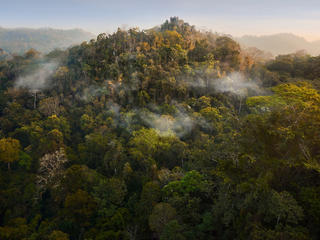 Aerial landscape of Thung Yai-Huai Kha Khaeng Wildlife Sanctuary in Thailand