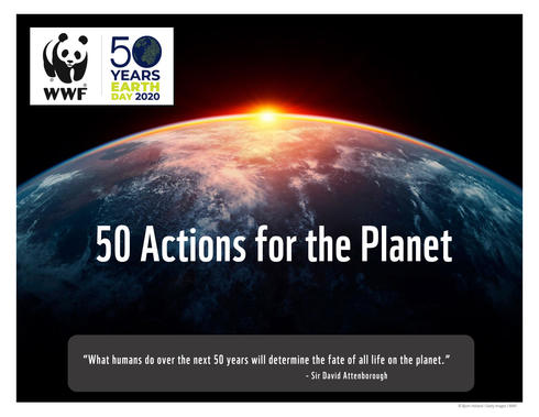 50 Actions for the Planet Earth Day Guide Cover - Image of sunlight eclipsing planet Earth