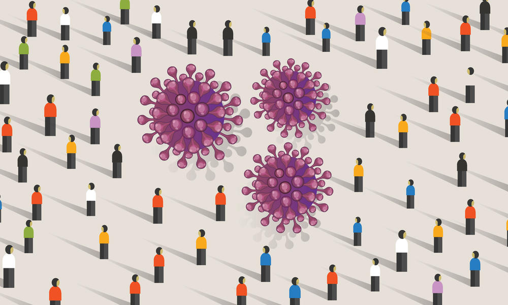 Illustration of people standing and a virus