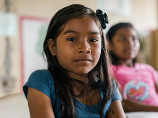 Young girl is part of La Chorrera indigenous community in Colombian Amazon