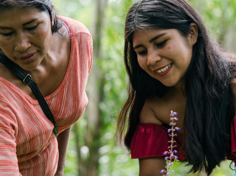 Chela Elena Umire works with her daughter in Colombian Amazon