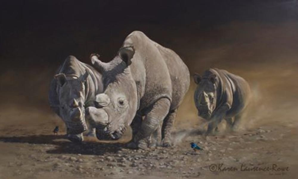 Painting of rhinos charging